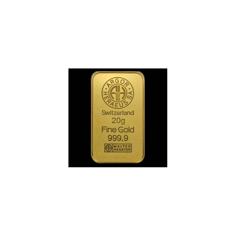 Zlatý slitek Argor Heraeus 20g
