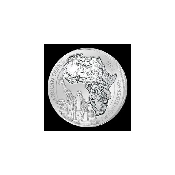 Stříbrná investiční mince Žirafa Rwanda 1 Oz 2018
