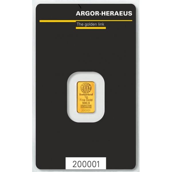 1g Argor Heraeus SA Švýcarsko Investiční zlatý slitek